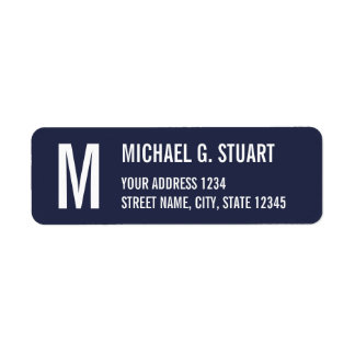 Navy Blue Professional Monogram Bold Text Label