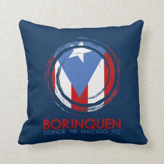 Navy Blue Puerto Rico Borinquen Throw Pillow