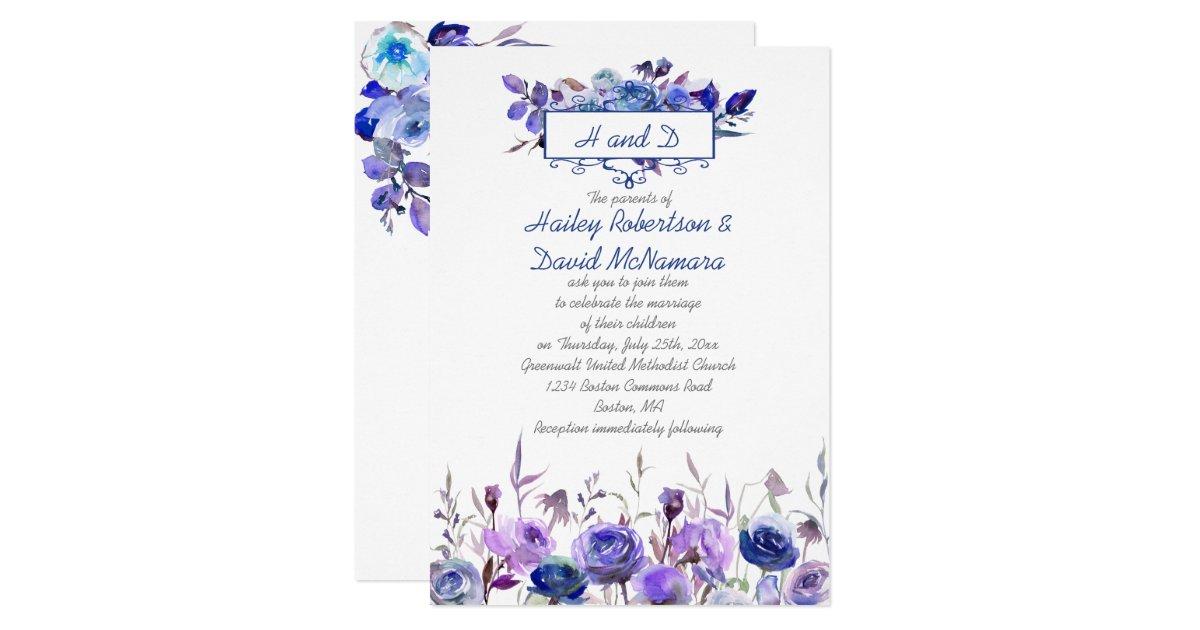 Purple Rose Wedding Invitations: Navy Blue Purple Lavender Roses Wedding Invites