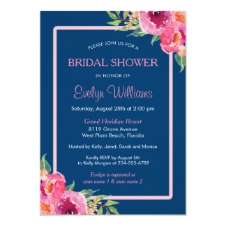Navy Blue Purple Pink Floral Classy Bridal Shower Card