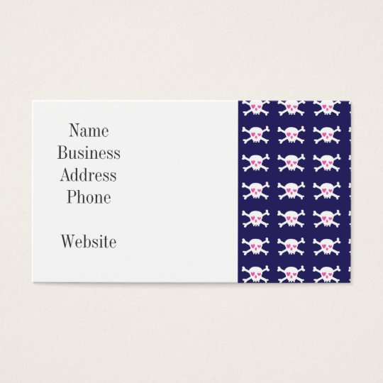 Navy Blue Purple Pink Punk Rock Skulls Pattern Business Card
