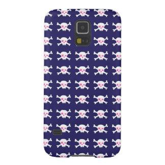 Navy Blue Purple Pink Punk Rock Skulls Pattern Galaxy S5 Cases