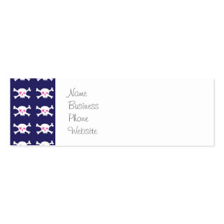 Navy Blue Purple Pink Punk Rock Skulls Pattern Mini Business Card