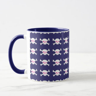 Navy Blue Purple Pink Punk Rock Skulls Pattern Mug