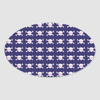 Navy Blue Purple Pink Punk Rock Skulls Pattern Oval Sticker