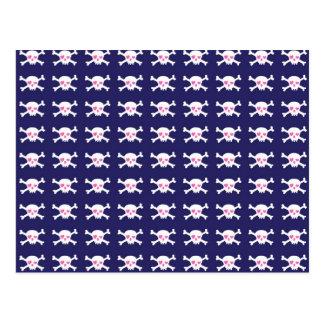 Navy Blue Purple Pink Punk Rock Skulls Pattern Postcard