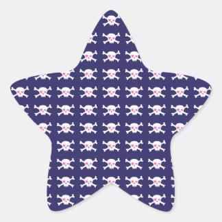 Navy Blue Purple Pink Punk Rock Skulls Pattern Star Sticker