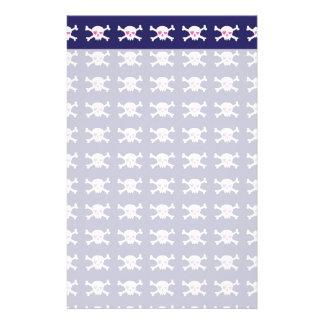 Navy Blue Purple Pink Punk Rock Skulls Pattern Stationery Paper