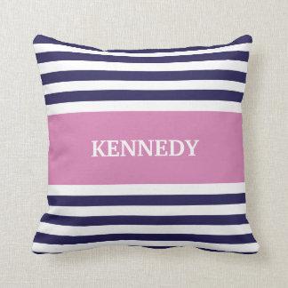 Navy Blue Purple Stripes Monogram Throw Pillow