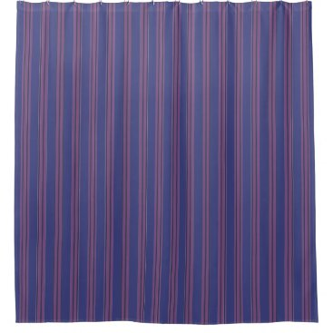 Beach Themed Navy Blue & Purple Stripes Shower Curtain