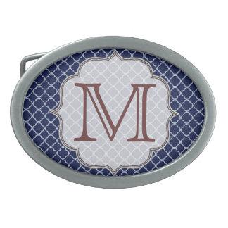 Navy Blue Quarterfoil Latti Monogram Belt Buckle