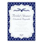 Navy Blue Quatrefoil Bridal Shower Invitations