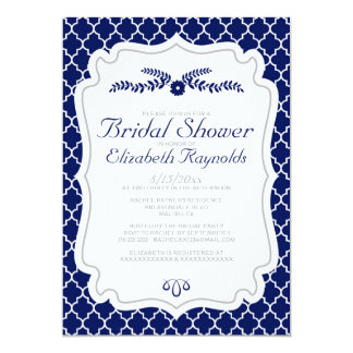 Navy Blue Quatrefoil Bridal Shower Invitations