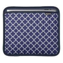 Navy Blue Quatrefoil iPad Sleeve