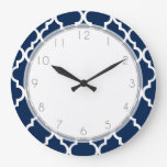 Navy Blue Quatrefoil Pattern Clock