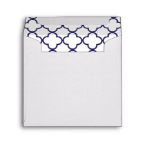 Navy Blue Quatrefoil Pattern Envelope
