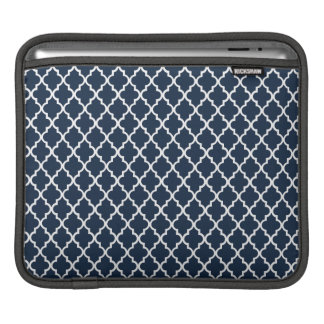 Navy Blue Quatrefoil Pattern iPad Sleeve