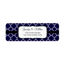 Navy Blue Quatrefoil Pattern Label