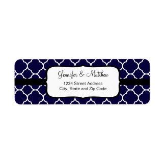 Navy Blue Quatrefoil Pattern Label