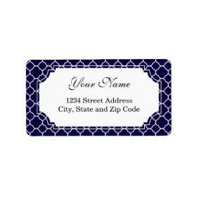 Navy Blue Quatrefoil Pattern Personalized Address Labels
