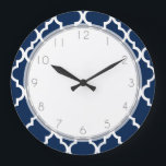 "Navy Blue Quatrefoil Pattern Large Clock<br><div class=""desc"">Custom designer wall clock features an elegant and Moroccan quatrefoil tiles pattern vector illustration.</div>"