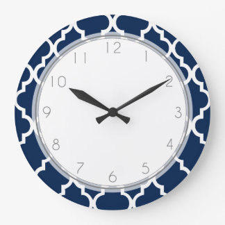 Navy Blue Quatrefoil Pattern Large Clock