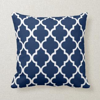 Navy Blue Quatrefoil Pattern Throw Pillows