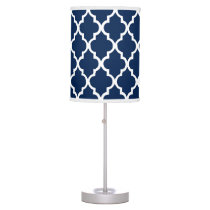 Navy Blue Quatrefoil Pattern Table Lamp