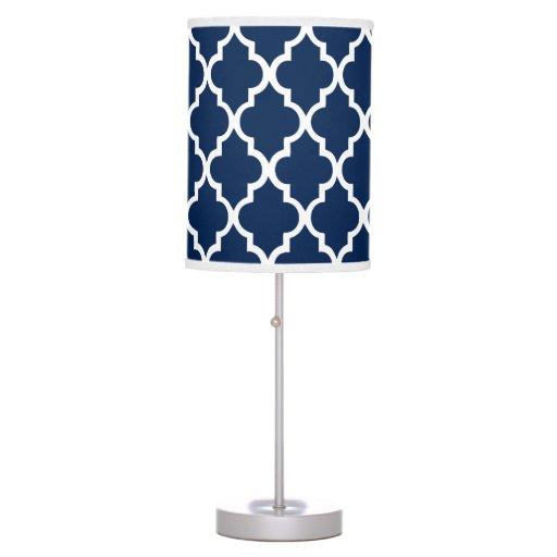 navy blue quatrefoil pattern table lamps zazzle. Black Bedroom Furniture Sets. Home Design Ideas