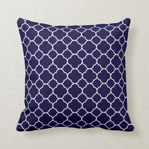 Accent Pillows For Navy Blue Couch : Navy Blue Quatrefoil Pattern Throw Pillow Zazzle