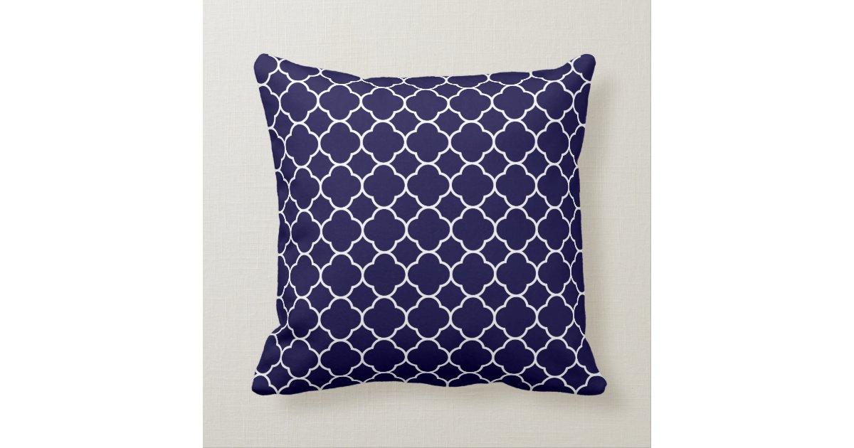 Throw Pillow Design Patterns : Navy Blue Quatrefoil Pattern Throw Pillow Zazzle