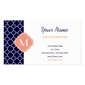 Navy Blue Quatrefoil Pattern with Monogram Double-Sided Standard Business Cards (Pack Of 100)
