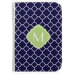 Navy Blue Quatrefoil Pattern with Monogram Cases For Kindle