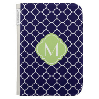 Navy Blue Quatrefoil Pattern with Monogram Cases For Kindle
