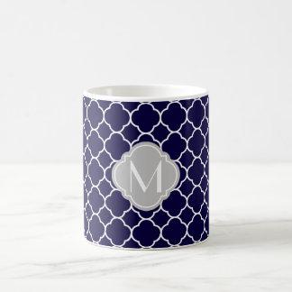 Navy Blue Quatrefoil Pattern with Monogram Coffee Mug