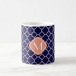 Navy Blue Quatrefoil Pattern with Monogram Mug