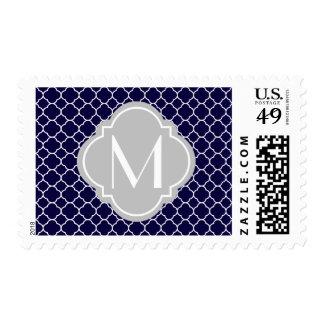 Navy Blue Quatrefoil Pattern with Monogram Postage