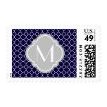 Navy Blue Quatrefoil Pattern with Monogram Stamps
