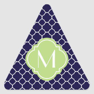 Navy Blue Quatrefoil Pattern with Monogram Triangle Sticker