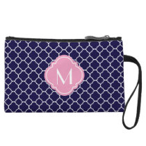 Navy Blue Quatrefoil Pattern with Monogram Wristlet