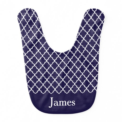 Navy Blue Quatrefoil Personalized Baby Bib