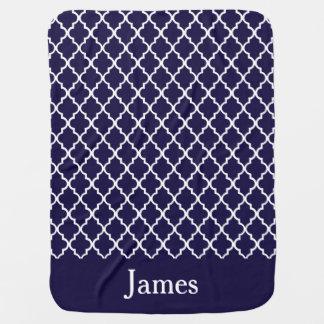 Navy Blue Quatrefoil Personalized Baby Blanket