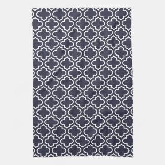 Navy Blue Quatrefoil Tea Towel