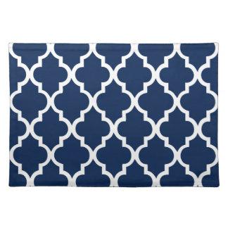 Navy Blue Quatrefoil Tiles Pattern Cloth Placemat