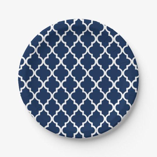 navy blue quatrefoil tiles pattern paper plate. Black Bedroom Furniture Sets. Home Design Ideas