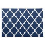 Navy Blue Quatrefoil Tiles Pattern Place Mats