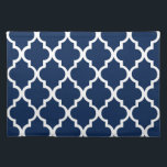 "Navy Blue Quatrefoil Tiles Pattern Placemat<br><div class=""desc"">Stylish and trendy designer Moroccan quatrefoil or clover trellis pattern. Perfect for special occasions and parties,  or as part of your personalized home decor.</div>"