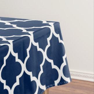 Navy Blue Quatrefoil Tiles Pattern Tablecloth