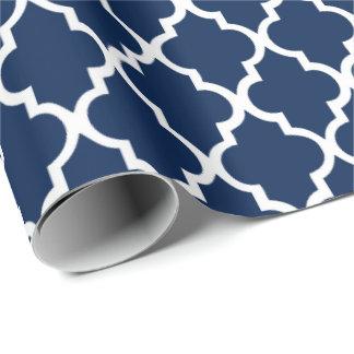 Navy Blue Quatrefoil Tiles Pattern Wrapping Paper
