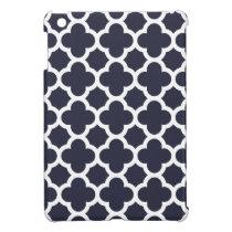 Navy Blue Quatrefoil Trellis Pattern iPad Mini Case